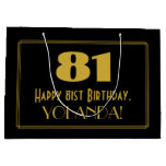 "[ Thumbnail: 81st Birthday — Art Deco Inspired Look ""81"" & Name Gift Bag ]"
