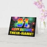 [ Thumbnail: 81st Birthday: Bold, Fun, Fireworks, Rainbow 81 Card ]