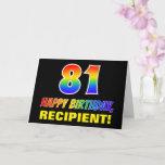 [ Thumbnail: 81st Birthday: Bold, Fun, Simple, Rainbow 81 Card ]