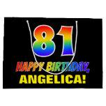 [ Thumbnail: 81st Birthday: Bold, Fun, Simple, Rainbow 81 Gift Bag ]