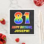 [ Thumbnail: 81st Birthday: Bold, Fun, Simple, Rainbow 81 Napkins ]