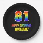 [ Thumbnail: 81st Birthday: Bold, Fun, Simple, Rainbow 81 Paper Plate ]