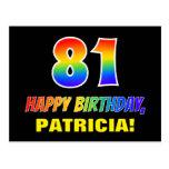 [ Thumbnail: 81st Birthday: Bold, Fun, Simple, Rainbow 81 Postcard ]