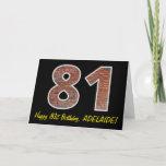 "[ Thumbnail: 81st Birthday - Brick Wall Pattern ""81"" W/ Name Card ]"