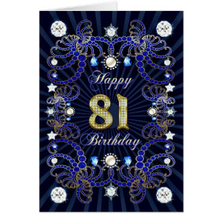81st birthday card with masses of jewels