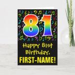 [ Thumbnail: 81st Birthday: Colorful Music Symbols + Rainbow 81 Card ]