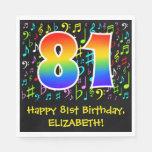 [ Thumbnail: 81st Birthday - Colorful Music Symbols, Rainbow 81 Napkins ]