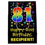 [ Thumbnail: 81st Birthday: Colorful Stars Pattern & Rainbow 81 Gift Bag ]