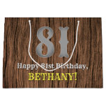 [ Thumbnail: 81st Birthday: Country Western Inspired Look, Name Gift Bag ]