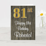 [ Thumbnail: 81st Birthday: Elegant Faux Gold Look #, Faux Wood Card ]