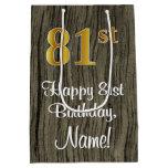 [ Thumbnail: 81st Birthday: Elegant Faux Gold Look #, Faux Wood Gift Bag ]