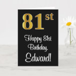 [ Thumbnail: 81st Birthday ~ Elegant Luxurious Faux Gold Look # Card ]