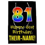 "[ Thumbnail: 81st Birthday: Fun, Bold, Colorful, Rainbow ""81"" Gift Bag ]"