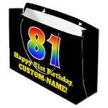 [ Thumbnail: 81st Birthday ~ Fun, Colorful, Vibrant, Rainbow 81 Gift Bag ]