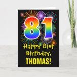 [ Thumbnail: 81st Birthday: Fun Fireworks Pattern + Rainbow 81 Card ]