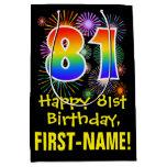 [ Thumbnail: 81st Birthday: Fun Fireworks Pattern + Rainbow 81 Gift Bag ]