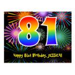 [ Thumbnail: 81st Birthday – Fun Fireworks Pattern + Rainbow 81 Postcard ]