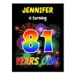 "[ Thumbnail: 81st Birthday - Fun Fireworks, Rainbow Look ""81"" Postcard ]"