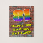 [ Thumbnail: 81st Birthday: Fun Graffiti-Inspired Rainbow 81 Jigsaw Puzzle ]