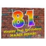 [ Thumbnail: 81st Birthday: Fun, Graffiti-Inspired Rainbow # 81 Gift Bag ]