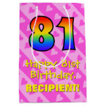 [ Thumbnail: 81st Birthday: Fun Pink Hearts Stripes; Rainbow 81 Gift Bag ]