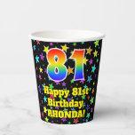 [ Thumbnail: 81st Birthday: Fun Stars Pattern and Rainbow 81 ]