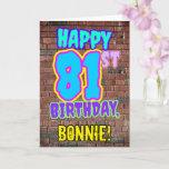 [ Thumbnail: 81st Birthday - Fun, Urban Graffiti Inspired Look Card ]