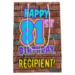 [ Thumbnail: 81st Birthday: Fun, Urban Graffiti Inspired Look Gift Bag ]