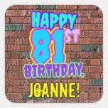 [ Thumbnail: 81st Birthday – Fun, Urban Graffiti Inspired Look Sticker ]