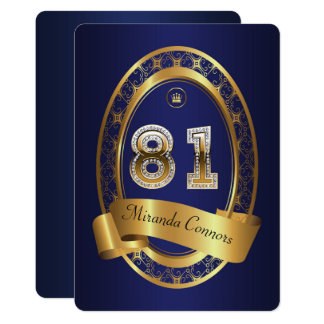 81st,birthday party woman man,elegant color card