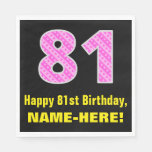 "[ Thumbnail: 81st Birthday: Pink Stripes and Hearts ""81"" + Name Napkins ]"