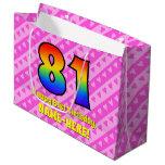 [ Thumbnail: 81st Birthday: Pink Stripes & Hearts, Rainbow # 81 Gift Bag ]