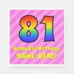 [ Thumbnail: 81st Birthday: Pink Stripes & Hearts, Rainbow # 81 Napkins ]