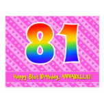 [ Thumbnail: 81st Birthday: Pink Stripes & Hearts, Rainbow 81 Postcard ]