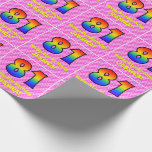 [ Thumbnail: 81st Birthday: Pink Stripes & Hearts, Rainbow # 81 Wrapping Paper ]