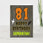 [ Thumbnail: 81st Birthday: Spooky Halloween Theme, Custom Name Card ]