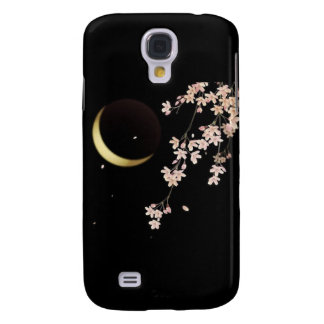 8278 Cherry blossoms night sliver moon vector Galaxy S4 Cases
