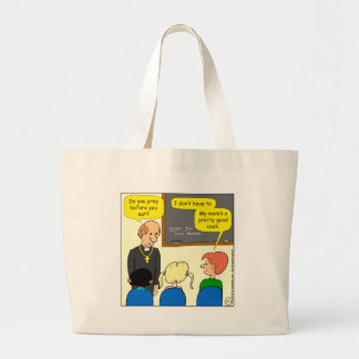 829 mom's a pretty good cook cartoon large tote bag