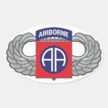 """82.o División aerotransportada """"todo americana """" Pegatina Ovalada"""