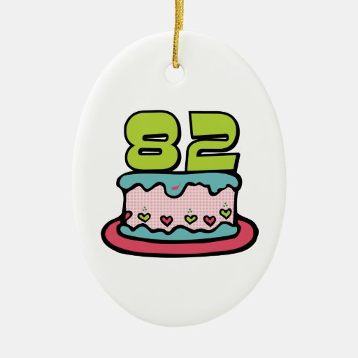 82 Year Old Birthday Cake Double-Sided Oval Ceramic Christmas Ornament