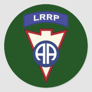 82d Airborne LRRP Recondo pocket patch Classic Round Sticker