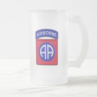 82nd ABN DIV Airborne Division Veterans Vets Frosted Glass Beer Mug