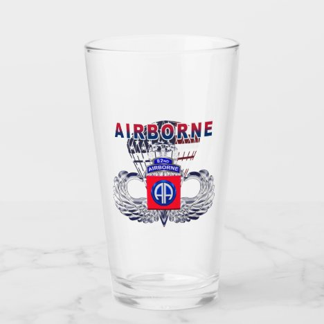 82nd Airborne Div American Flag Jump Wings Glass