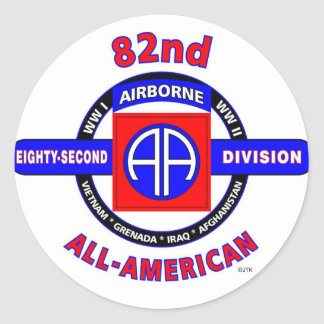 """82ND AIRBORNE DIVISION """"ALL AMERICAN"""" DIVISION ROUND STICKERS"""