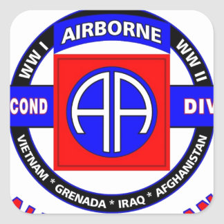 """82ND AIRBORNE DIVISION """"ALL AMERICAN"""" DIVISION SQUARE STICKERS"""
