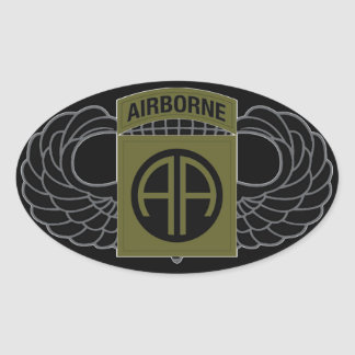 """82nd Airborne Division """"All American"""" - SUBDUED Oval Sticker"""