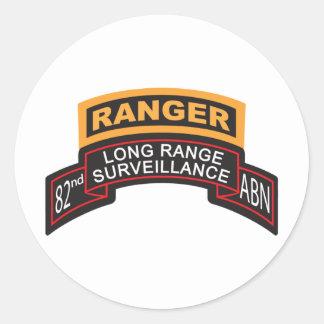 82nd Airborne LRS Scroll, Ranger Tab Classic Round Sticker