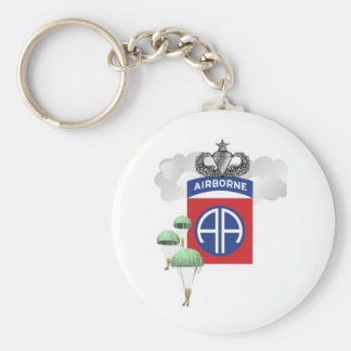 82nd Airborne, Paratroopers, Senior Jump Wings Basic Round Button Keychain