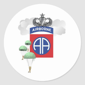 82nd Airborne, Paratroopers, Senior Jump Wings Classic Round Sticker