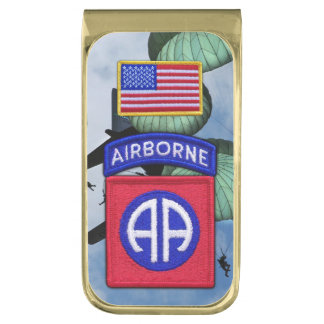 82nd airborne veterans vets fort bragg gold finish money clip